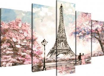 Tablou modular din cinci elemente - Parisul primavara Tablouri