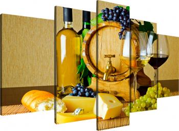 Tablou modular din cinci elemente - Vin alb Tablouri