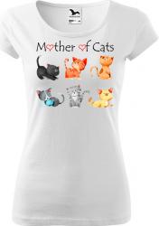 Tricou cu maneca scurta alb K-off XL Mother of cats Tricouri dama