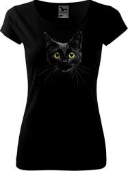 Tricou cu maneca scurta negru K-off XS Pisica neagra Tricouri dama