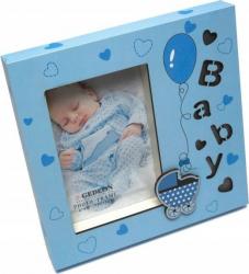 Rama foto Cute Baby iluminata LED format foto 10X15 metalica albastra