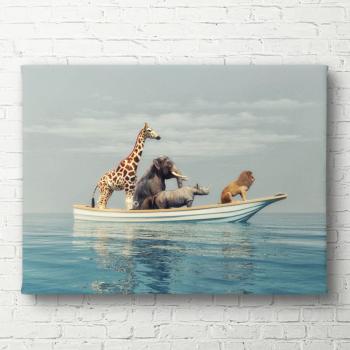 Tablou canvas Animale in barca 40x60 cm Tablouri