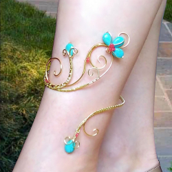 Bratara de picior Elven Rose Design Wrapped Ankle bracelet handmade placat aur turcoaz jad Bratari