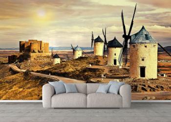 Fototapet lavabil Peisaj cu mori de vant 70x104 cm Tapet