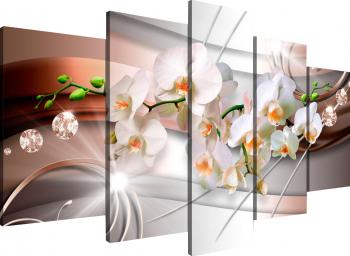 Tablou canvas modular Orhidee albe 206x115 cm Tablouri