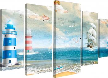 Tablou canvas modular Peisaj marin cu far 145x82 cm Tablouri