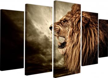 Tablou canvas modular Regele junglei 145x82 cm Tablouri