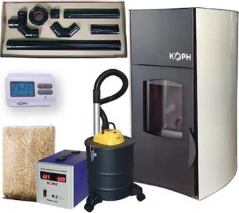Pachet Totul Inclus Termosemineu peleti cu agent termic Koph PM 25 kW Fiama Termoseminee