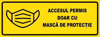 Sticker - indicator pentru geam accesul permis doar cu masca de protectie negru-galben 20x7 cm Sisteme de afisare si prezentare