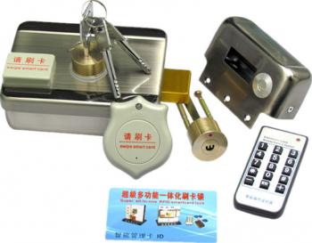 Yala electromagnetica din inox E-LOCKS cu motor cu acces RFID electric si cu cheie Yale si Electromagneti