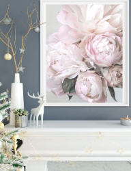 Poster inramat Bujori roz 50x75 cm Tablouri