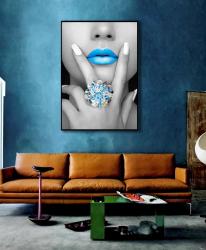 Poster inramat Buze albastre 30x45 cm Tablouri