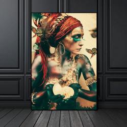 Poster inramat Femeie din trib 50x75 cm Tablouri