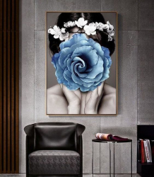 Poster inramat Trandafir albastru 30x45 cm Tablouri