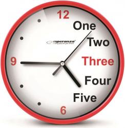 Ceas de perete Esperanza model Praga cadran rosu fond alb 20 cm EHC014R-DC Ceasuri si Radio cu ceas