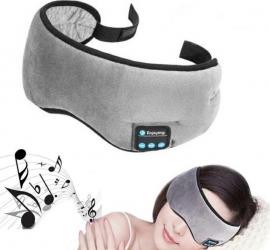 Masca pentru somn functie Bluetooth 5.0 cu casti si microfon incorporat fixare Velcro culoare Gri Accesorii diverse camping