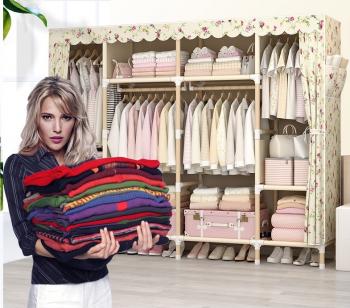 Dulap haine cu cadru de lemn si husa detasabila textila 175x200x45 cm