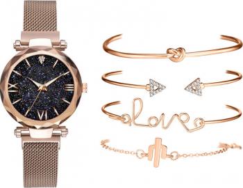 Set ceas dama magnetic cu 4 bratari Geneva auriu