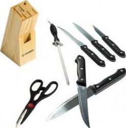 Set cutite 8 piese cu suport de lemn
