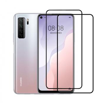 Set 2 folii protectie sticla securizata fullsize pentru Huawei P40 Lite 5G / Nova 7 SE negru