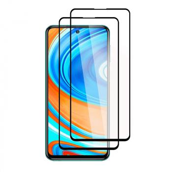 Set 2 folii protectie sticla securizata fullsize pentru Xiaomi Redmi Note 9S / Note 9 Pro negru