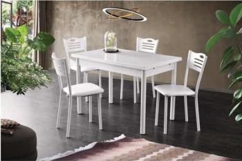 Set Bucatarie/Dining Masa Extensibila Polo White 4 Scaune Tapitate Cadru Lemn Eco Piele Alb Mese