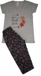 Pijama dama marca SERENA cu pantalon 3/4 si bluza cu maneci scurte imprimeu LIVE