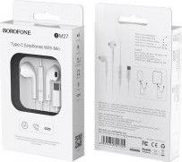 Casti Audio Originale Borofone M27 Type-C cu Microfon compatibile Xiaomi MI6MI6XMI MIX 2MI MIX2SMI MIX3MI8 Huawei P20P20 Pro White Casti telefoane mobile