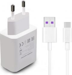 Incarcator Super Charge Huawei P30 P30 LITE P30 PRO HW-050450E00 5A si cablu HL-1289 Type-C Alb