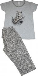 Pijama dama marca SERENA cu pantalon 3/4 si bluza cu maneci scurte imprimeu leopard