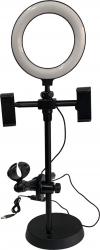 Lampa Selfie Light Ring cu suport telefon si microfon 55 cm pentru streaming selfie YouTube conferinte Negru Gimbal, Selfie Stick si lentile telefon