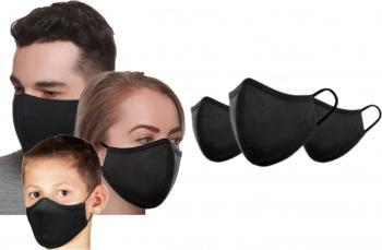 Set 3 buc masti faciale reutilizabile pentru familie 2 buc adulti 1 buc copil din bumbac negre Articole protectia muncii