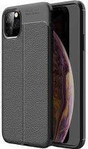 Husa Auto Focus Skin pentru Apple iPhone 11 Pro Business Leather Design subtil antialunecare Margini ridicate Finisaj texturat Negru Huse Telefoane