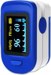 Pulsoximetru Mobile Tuning digital Indica nivelul de saturatie a oxigenului din sange Masoara rata pulsului albastru/alb Pulsoximetre