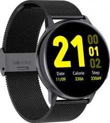 Ceas Smartwatch TND Wear S30 Termometru Heart Rate ECG Oxygen Control Pedometru ecran 1.28 TFT baterie 7 zile Bratara extra silicon negru Bratari Fitness