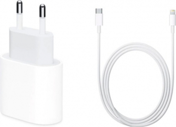 Incarcator Fast Charge Apple 18W iPhone 1111 Pro11 Pro MaxXS MaxXSXXR88 Plus si Cablu de date fast charge 1m Usb-C-Lightning Incarcatoare Telefoane