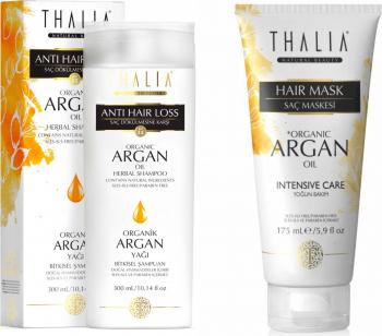 Pachet ingrijire par Thaia Natural Beauty Sampon anticadere cu ulei organic de argan 300ml + Masca de par cu ulei de argan si unt Sampon