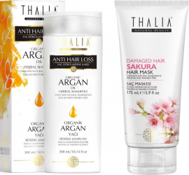 Pachet ingrijire par Thalia Natural Beauty Sampon anticadere cu ulei organic de argan 300ml + Masca pentru par deteriorat Sakura cu Sampon