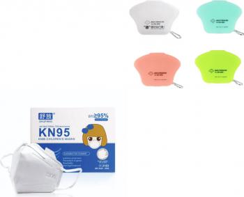 Set 10 Masti Protectie KN95 pentru Copii plus 4 buc cutie protectie masti multicolor Masti chirurgicale si reutilizabile