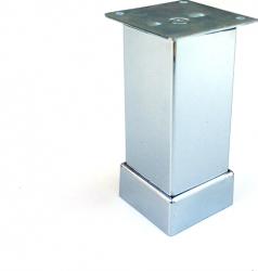 Picior metalic pentru mobilier H 100 mm finisaj crom lucios profil patrat 40x40 mm cu masca Accesorii mobilier