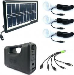 Kit Solar MRG AKL-8017A Negru 3 becuri Panou solar Corpuri de iluminat