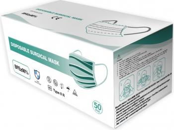 Masca medicala 3 straturi TYPE IIR banda metalica 50buc Masti chirurgicale si reutilizabile