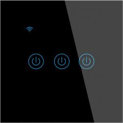 Intrerupator inteligent de perete WiFi cu touch cu sau fara nul 3 canale compatibil TuyaSmart SmartLife IFTTT Google Home Amazon Alexa Prize si intrerupatoare inteligente