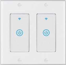 Intrerupator inteligent modular cu touch 2 module 2 canale alb compatibil TuyaSmart SmartLife IFTTT Google Home si Amazon Alexa - model Prize si intrerupatoare inteligente