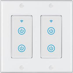 Intrerupator inteligent modular cu touch 2 module 4 canale alb compatibil TuyaSmart SmartLife IFTTT Google Home si Amazon Alexa - model Prize si intrerupatoare inteligente