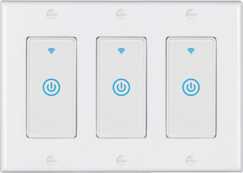 Intrerupator inteligent modular cu touch 3 module 3 canale alb compatibil TuyaSmart SmartLife IFTTT Google Home si Amazon Alexa - model Prize si intrerupatoare inteligente