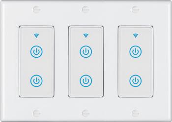 Intrerupator inteligent modular cu touch 3 module 6 canale alb compatibil TuyaSmart SmartLife IFTTT Google Home si Amazon Alexa - model Prize si intrerupatoare inteligente