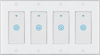Intrerupator inteligent modular cu touch 4 module 4 canale alb compatibil TuyaSmart SmartLife IFTTT Google Home si Amazon Alexa - model Prize si intrerupatoare inteligente