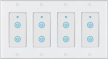 Intrerupator inteligent modular cu touch 4 module 8 canale alb compatibil TuyaSmart SmartLife IFTTT Google Home si Amazon Alexa - model Prize si intrerupatoare inteligente