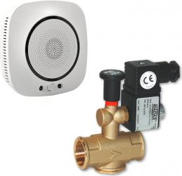 Kit senzor inteligent de gaz WiFi compatibil TuyaSmart si SmartLife model SFL-818 plus electroventil cu rearmare manuala MADAS Italia Kit Smart Home si senzori